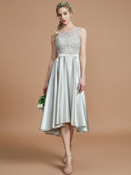 A-Line/Princess Bateau Asymmetrical Silk like Satin Bridesmaid Dresses with Ruffles