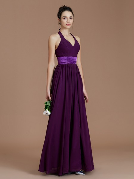 A-Line/Princess Halter Floor-Length Chiffon Bridesmaid Dresses with Sash/Ribbon/Belt