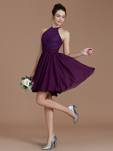 A-Line/Princess Halter Short/Mini Chiffon Bridesmaid Dresses with Lace