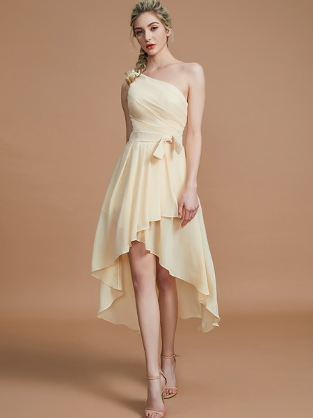A-Line/Princess One-Shoulder Layers Asymmetrical Chiffon Bridesmaid Dresses