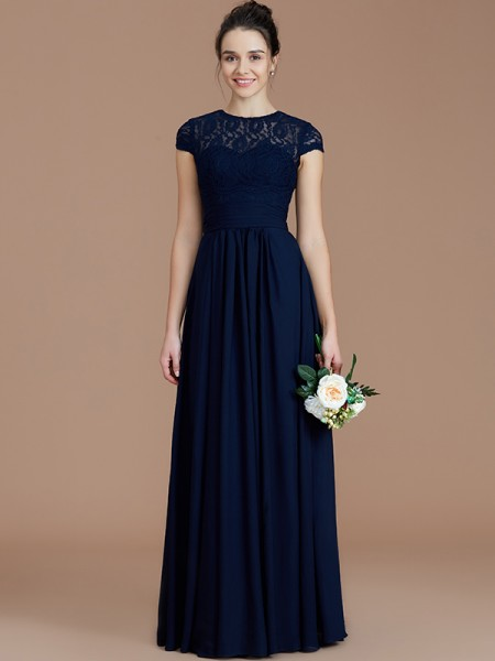 A-Line/Princess Jewel Floor-Length Chiffon Bridesmaid Dresses with Lace