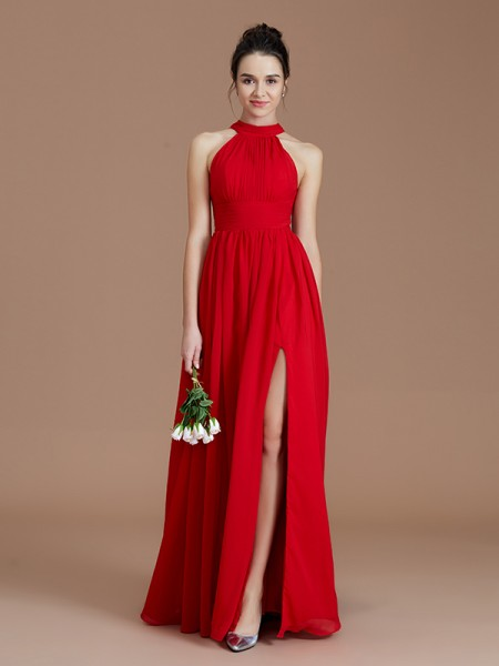 A-Line/Princess Halter Floor-Length Chiffon Bridesmaid Dresses with Ruched