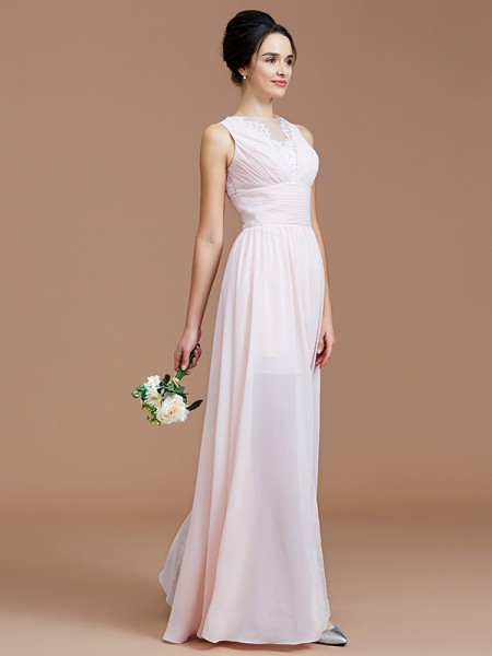 A-Line/Princess Jewel Floor-Length Chiffon Bridesmaid Dresses with Ruched