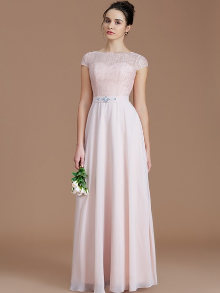 A-Line/Princess Bateau Floor-Length Chiffon Bridesmaid Dresses with Lace