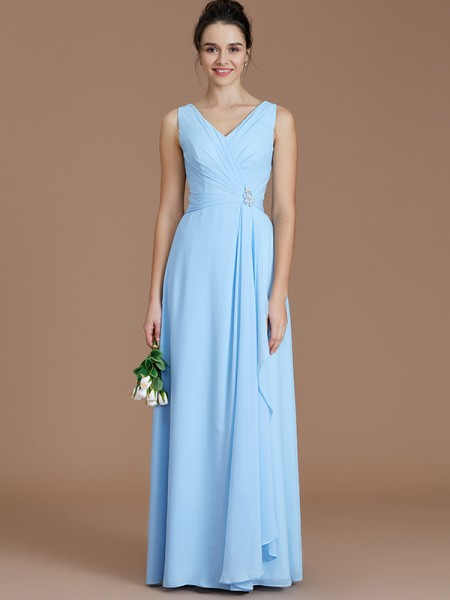 A-Line/Princess V-neck Floor-Length Chiffon Bridesmaid Dresses with Ruched