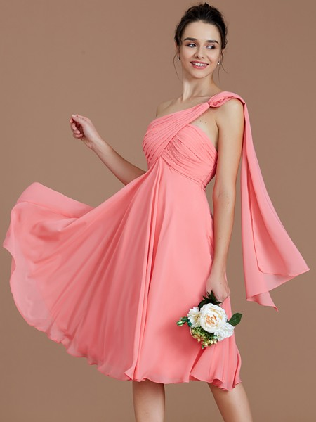 A-Line/Princess One-Shoulder Short/Mini Chiffon Bridesmaid Dresses with Ruched