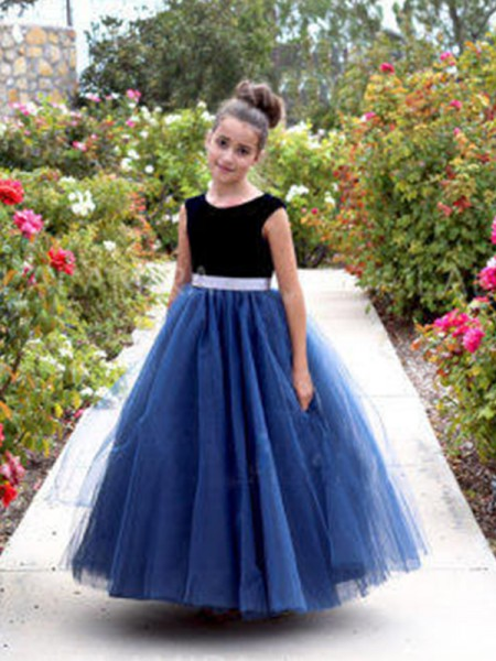 A-Line/Princess Scoop Ankle-Length Tulle Flower Girl Dresses with Sash/Ribbon/Belt