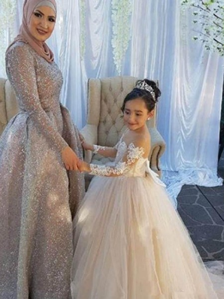 Ball Gown Off-the-Shoulder Sweep/Brush Train Tulle Flower Girl Dresses with Applique