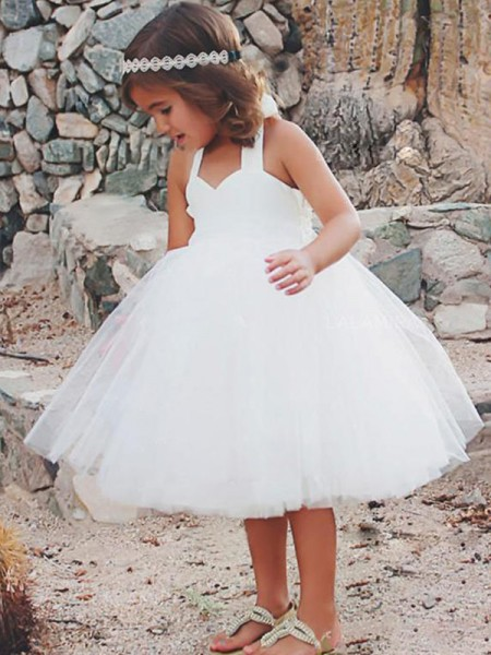 A-Line/Princess Halter Tea-Length Tulle Flower Girl Dresses with Ruffles