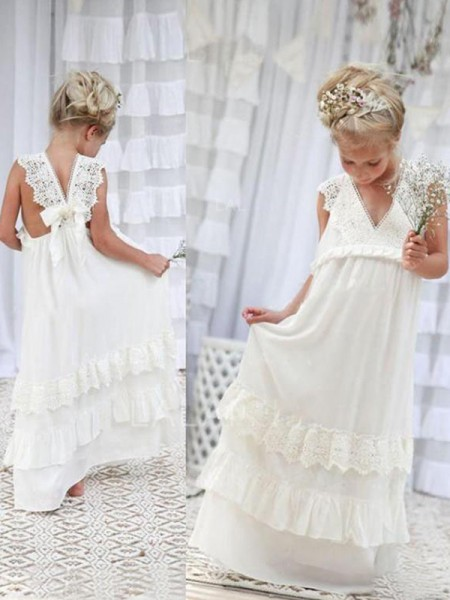 Empire V-neck Floor-Length Chiffon Flower Girl Dresses with Lace