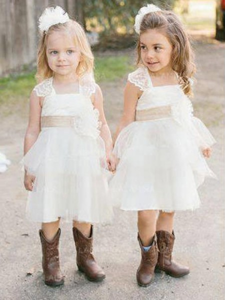 A-Line/Princess Square Knee-Length Tulle Flower Girl Dresses with Sash/Ribbon/Belt