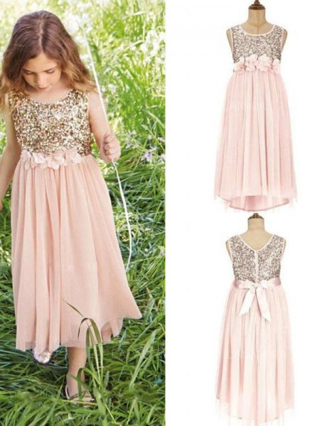 A-Line/Princess Scoop Asymmetrical Chiffon Flower Girl Dresses with Sequins