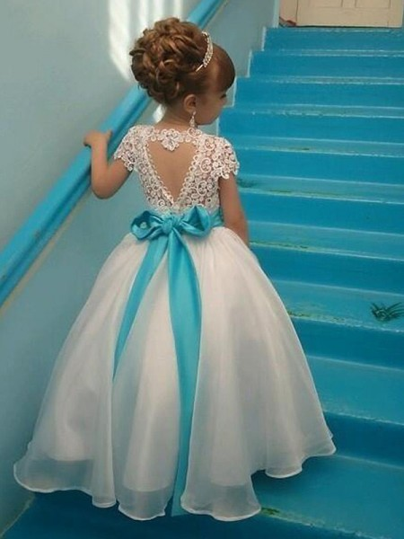 Ball Gown Scoop Floor-Length Organza Flower Girl Dresses with Beading