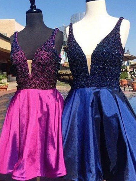 A-Line/Princess V-neck Satin Short Dresses with Beading