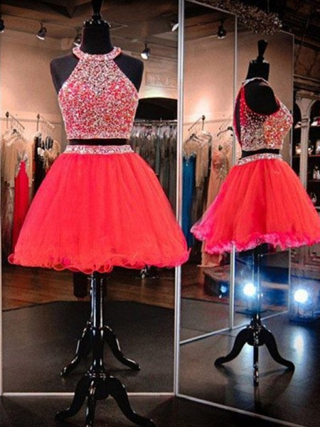 A-Line/Princess Halter Tulle Short Two Piece Dresses with Beading