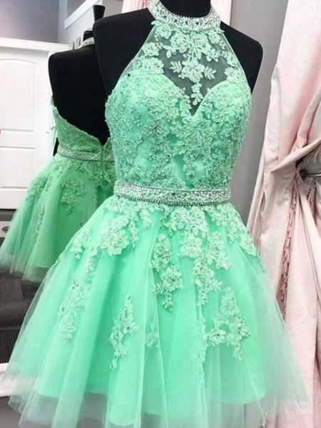 A-Line/Princess Halter Tulle Short Dresses with Applique