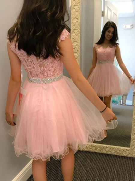 A-Line/Princess Bateau Tulle Short Dresses with Applique Beading
