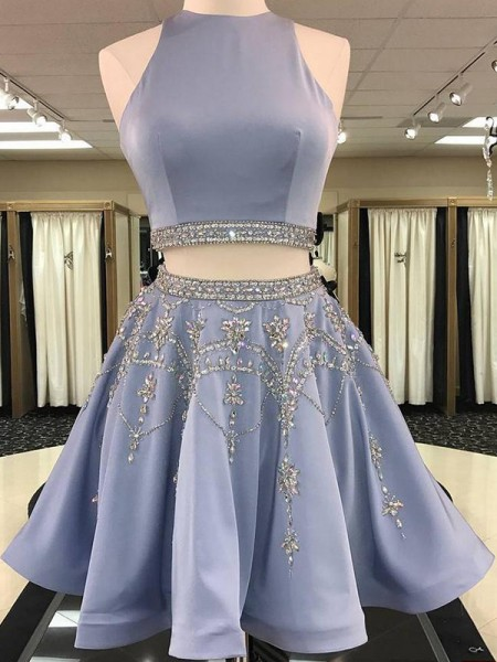 A-Line/Princess Bateau Satin Short Two Piece Dresses with Beading