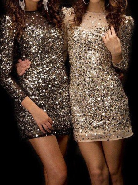 Sheath/Column Bateau Sequins Short Dresses with Beading
