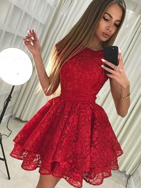 A-Line/Princess Scoop Lace Short Dresses