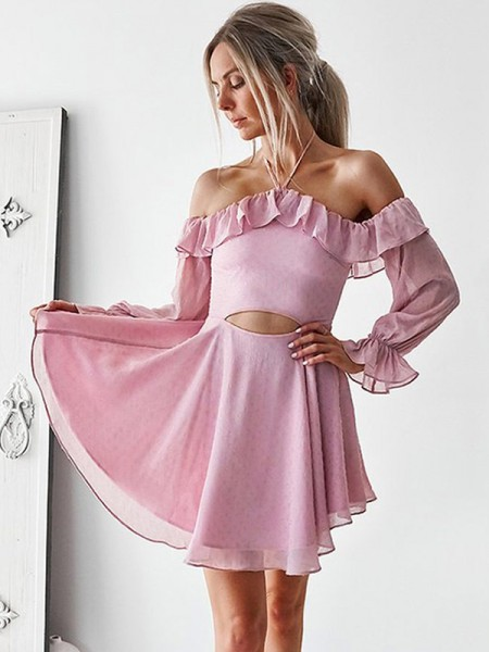 A-Line/Princess Off-the-Shoulder Chiffon Short Dresses with Ruffles