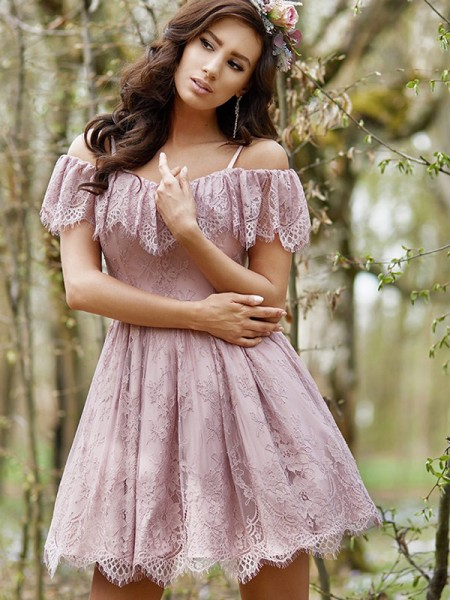A-Line/Princess Lace Off-the-Shoulder Short Dresses with Ruffles