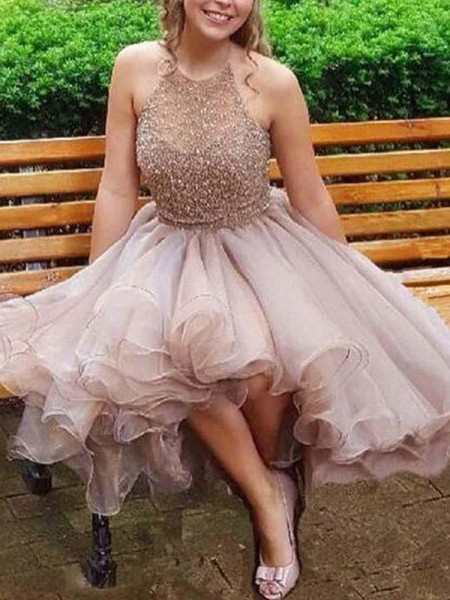 A-Line/Princess Halter Tulle Short/Mini Dresses with Beading