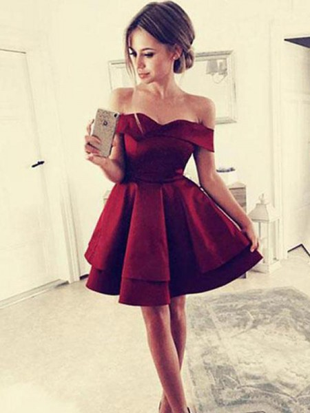 A-Line/Princess Satin Off-the-Shoulder Short/Mini Dresses with Ruffles