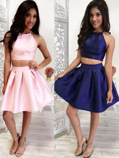 A-Line/Princess Halter Satin Short/Mini Two Piece Dresses with Ruffles
