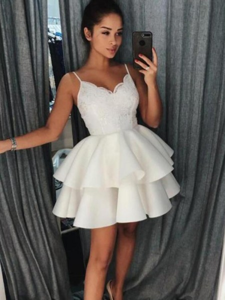 A-Line/Princess Satin Spaghetti Straps Short/Mini Dresses with Ruffles