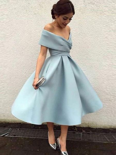 A-Line/Princess Sleeveless Off-the-Shoulder Satin Tea-Length Dresses with Ruffles