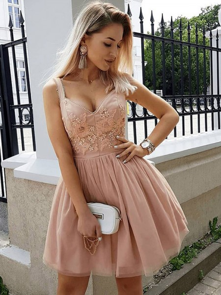 A-Line/Princess Sleeveless Straps Tulle Short/Mini Dresses with Beading