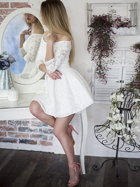A-Line/Princess Off-the-Shoulder Lace 3/4 Sleeves Short/Mini Dresses with Ruffles