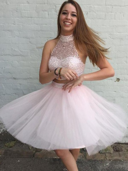 A-Line/Princess Tulle High Neck Sleeveless Short/Mini Two Piece Dresses with Beading
