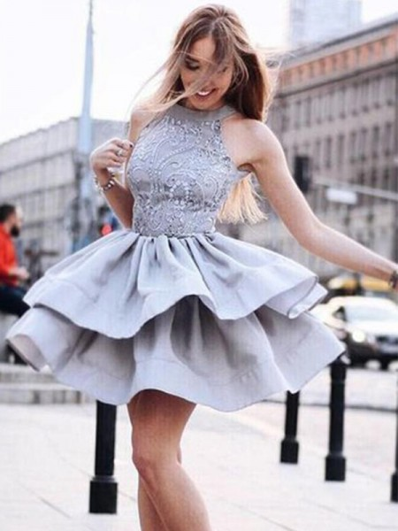 A-Line/Princess Satin Sleeveless Halter Short/Mini Dresses with Ruffles