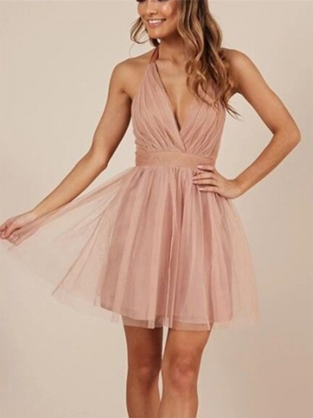 A-Line/Princess Sleeveless Halter Tulle Short/Mini Dresses with Ruffles