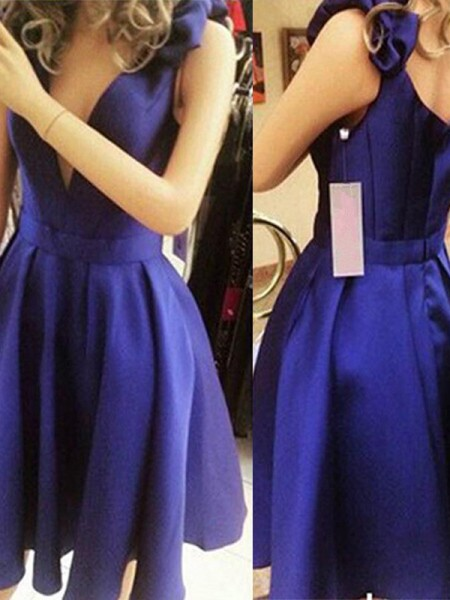 A-Line/Princess Sleeveless Straps Satin Short/Mini Dresses with Bowknot