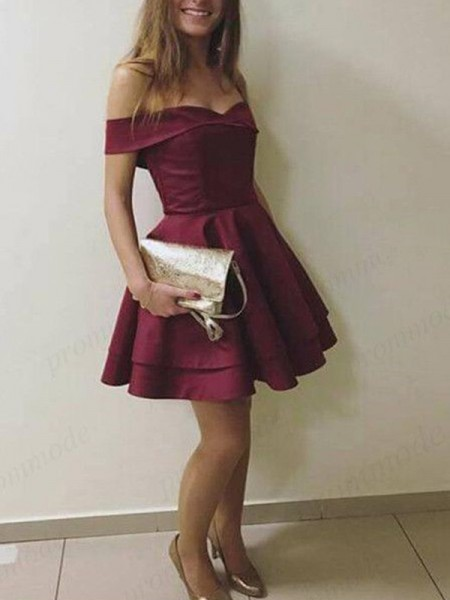 A-Line/Princess Sleeveless Off-the-Shoulder Satin Short/Mini Dresses with Layers