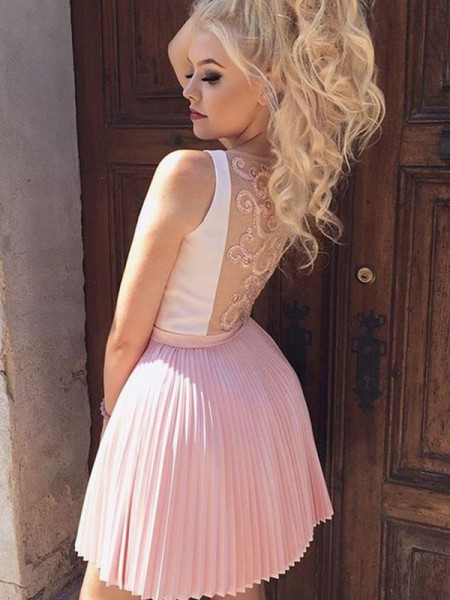 A-Line/Princess Satin V-neck Sleeveless Short/Mini Dresses with Pleats