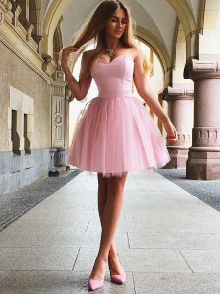 A-Line/Princess Sweetheart Sleeveless Satin Short/Mini Dresses with Ruffles