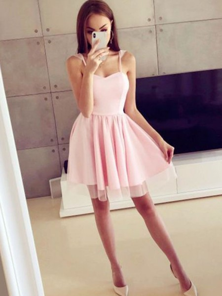 A-Line/Princess Satin Spaghetti Straps Sleeveless Short/Mini Dresses with Ruched