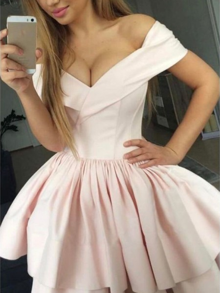 A-Line/Princess Satin Sleeveless Off-the-Shoulder Short/Mini Dresses with Ruched