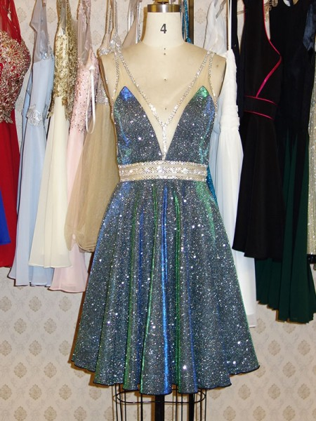 A-Line/Princess V-neck Sequins Sleeveless Short/Mini Dresses with Beading