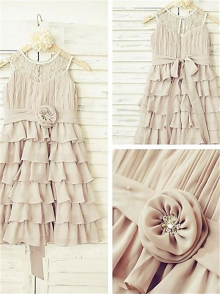 A-line Scoop Sleeveless Tea-length Chiffon Flower Girl Dresses with Ruffles