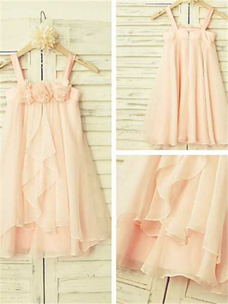A-line/Princess Spaghetti Straps Sleeveless Tea-Length Chiffon Flower Girl Dresses with Ruffles
