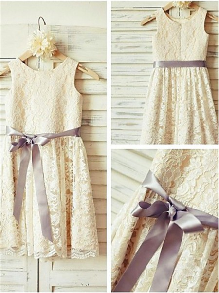 A-line/Princess Scoop Sleeveless Tea-Length Lace Flower Girl Dresses with Bowknot