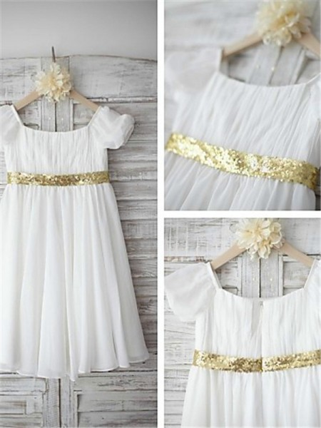 A-line/Princess Bateau Short Sleeves Tea-length Chiffon Flower Girl Dresses with Beading