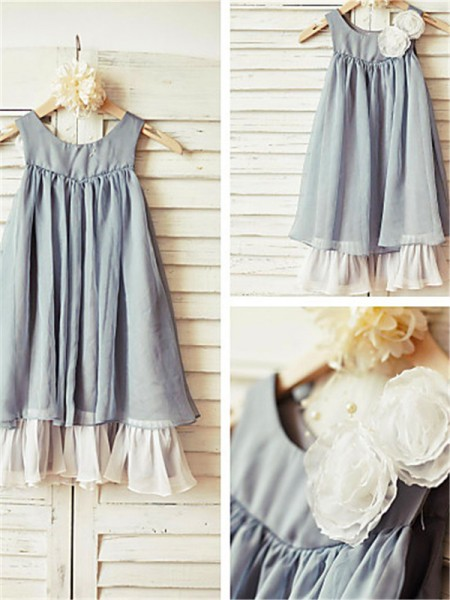 A-line/Princess Scoop Sleeveless Tea-length Chiffon Flower Girl Dresses with Ruffles