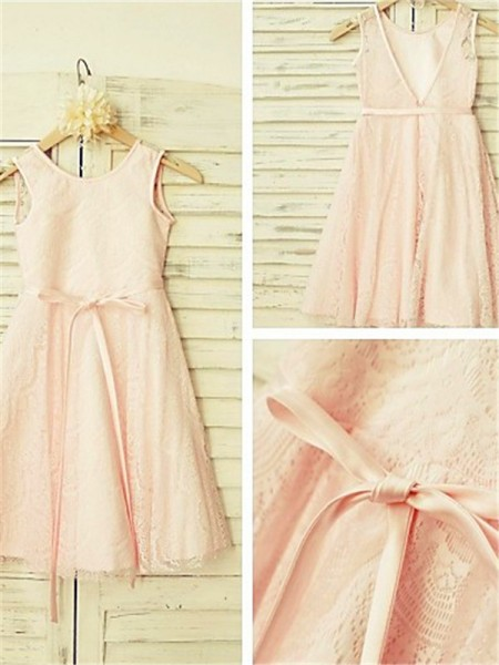 A-line/Princess Scoop Sleeveless Tea-Length Lace Flower Girl Dresses with Sash/Ribbon/Belt