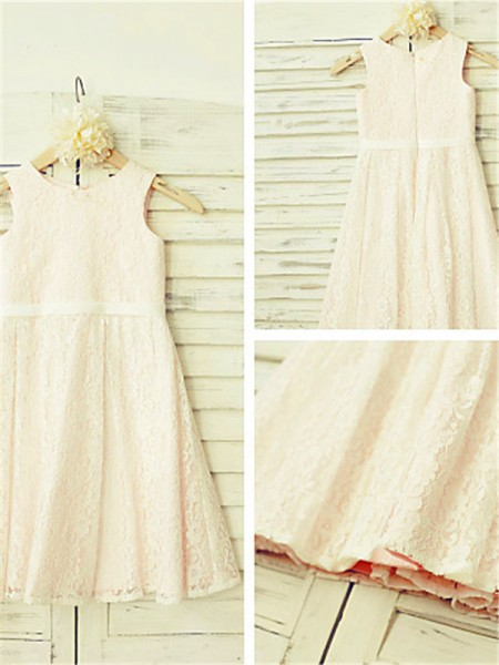 A-line/Princess Jewel Sleeveless Tea-length Lace Flower Girl Dresses